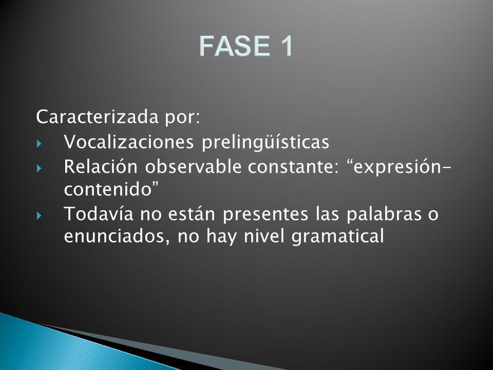 FASE 1 Caracterizada por: Vocalizaciones prelingüísticas Relación observable constante: expresión- contenido Todavía no están presentes las palabras o