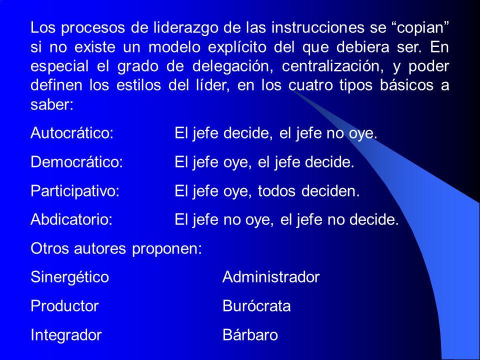 Los procesos de liderazgo de las instrucciones se copian si no existe un modelo explícito del que debiera ser. En especial el grado de delegación, cen