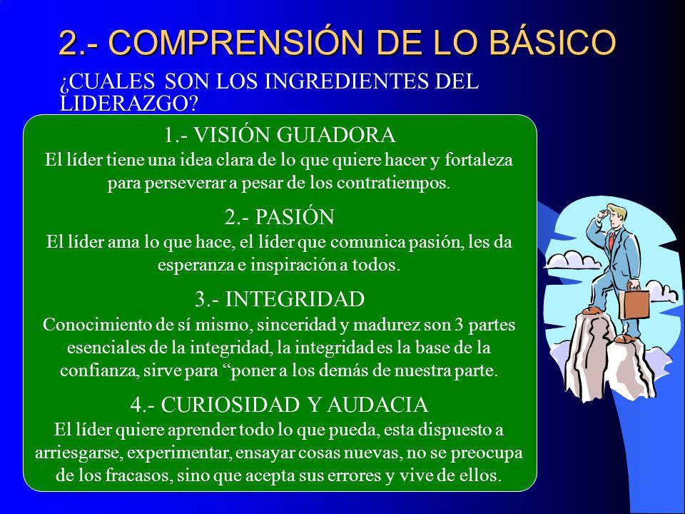 2.- COMPRENSIÓN DE LO BÁSICO ¿CUALES SON LOS INGREDIENTES DEL LIDERAZGO? 1.- VISIÓN GUIADORA El líder tiene una idea clara de lo que quiere hacer y fo