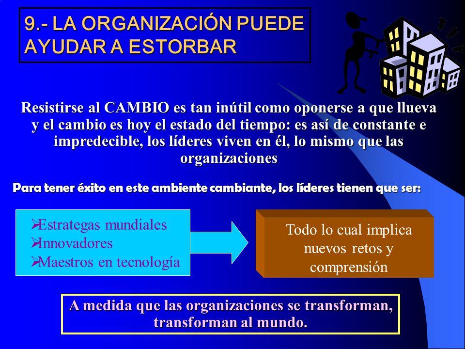 9.- LA ORGANIZACIÓN PUEDE AYUDAR A ESTORBAR Resistirse al CAMBIO es tan inútil como oponerse a que llueva y el cambio es hoy el estado del tiempo: es
