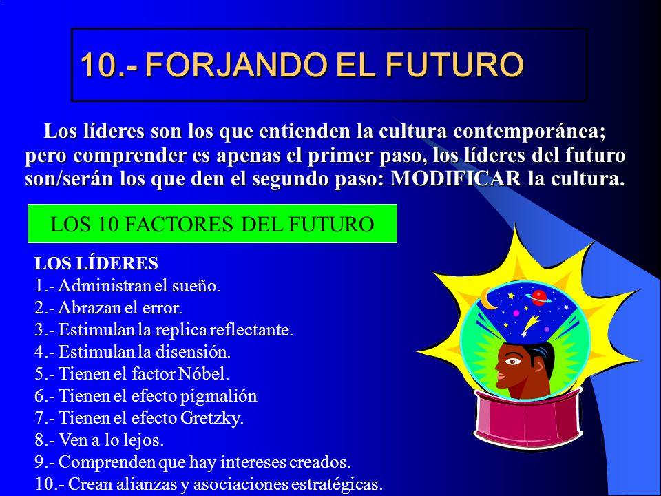 10.- FORJANDO EL FUTURO Los líderes son los que entienden la cultura contemporánea; pero comprender es apenas el primer paso, los líderes del futuro s