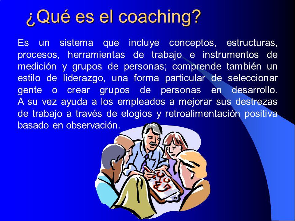 ¿Qué es el coaching? Es un sistema que incluye conceptos, estructuras, procesos, herramientas de trabajo e instrumentos de medición y grupos de person