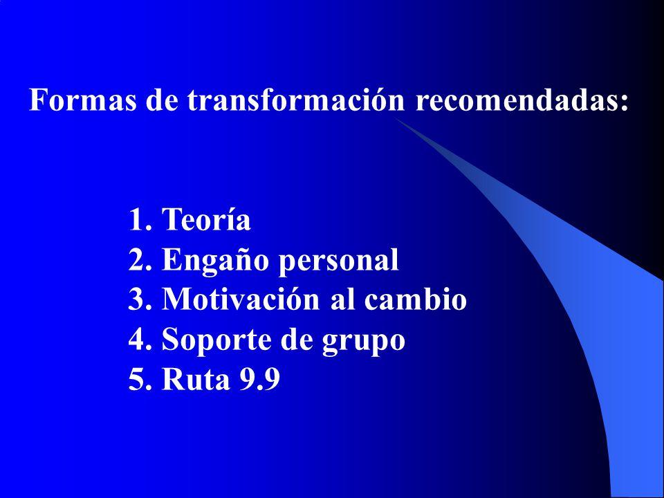 Formas de transformación recomendadas: 1.Teoría 2.Engaño personal 3.Motivación al cambio 4.Soporte de grupo 5.Ruta 9.9
