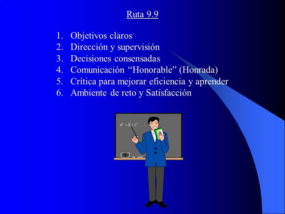 Ruta 9.9 1.Objetivos claros 2.Dirección y supervisión 3.Decisiones consensadas 4.Comunicación Honorable (Honrada) 5.Crítica para mejorar eficiencia y