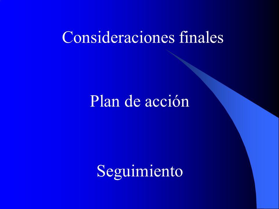 Consideraciones finales Plan de acción Seguimiento