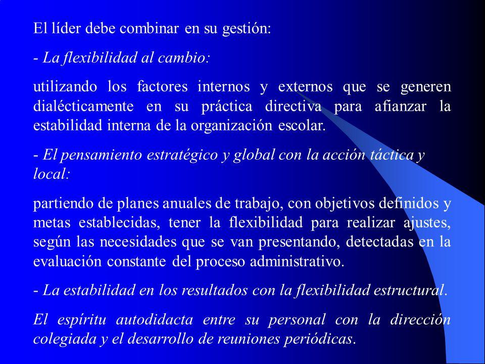 El líder debe combinar en su gestión: - La flexibilidad al cambio: utilizando los factores internos y externos que se generen dialécticamente en su pr