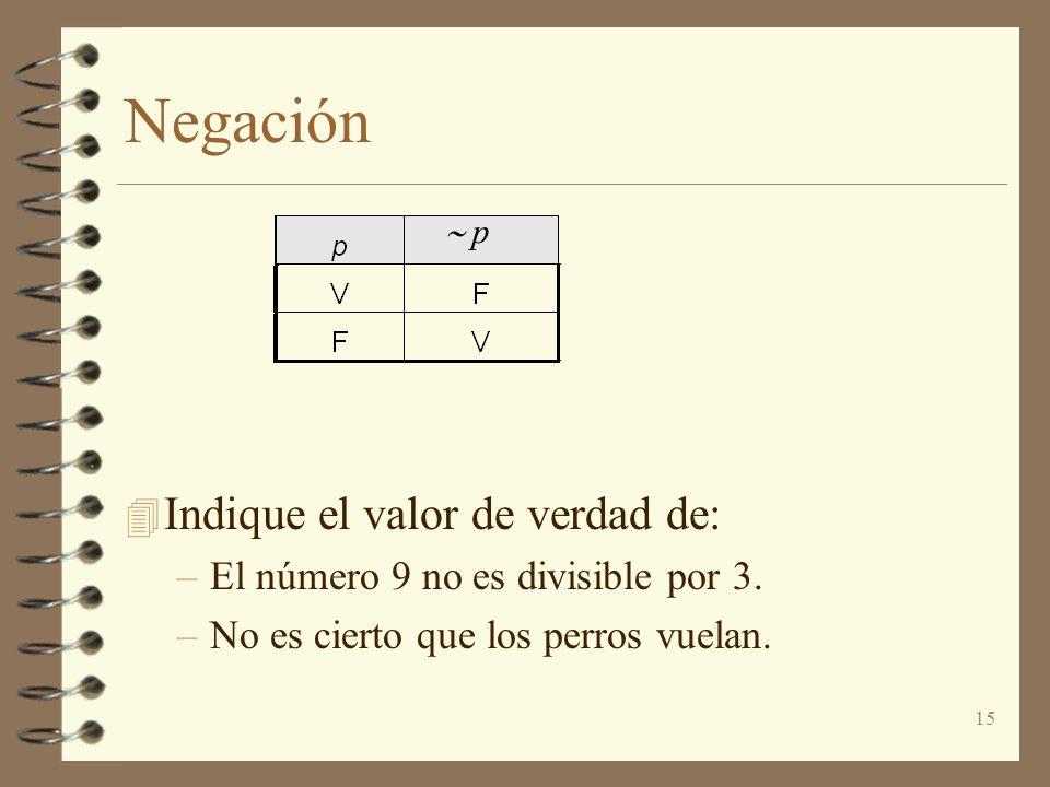 15 Negación 4 Indique el valor de verdad de: –El número 9 no es divisible por 3. –No es cierto que los perros vuelan. p