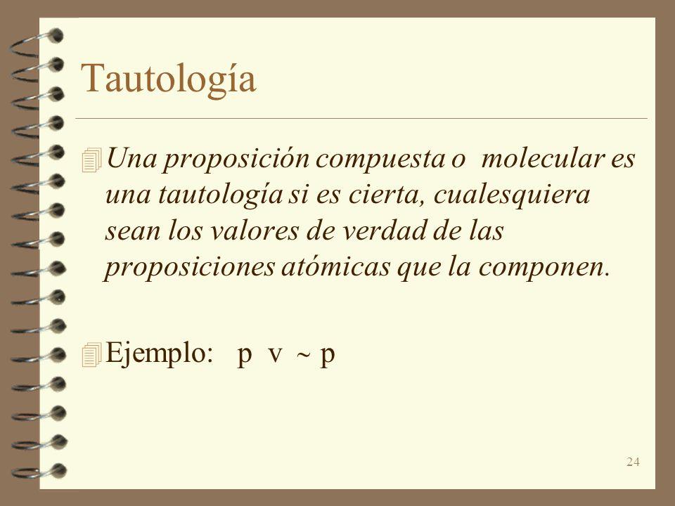 24 Tautología 4 Una proposición compuesta o molecular es una tautología si es cierta, cualesquiera sean los valores de verdad de las proposiciones atómicas que la componen.