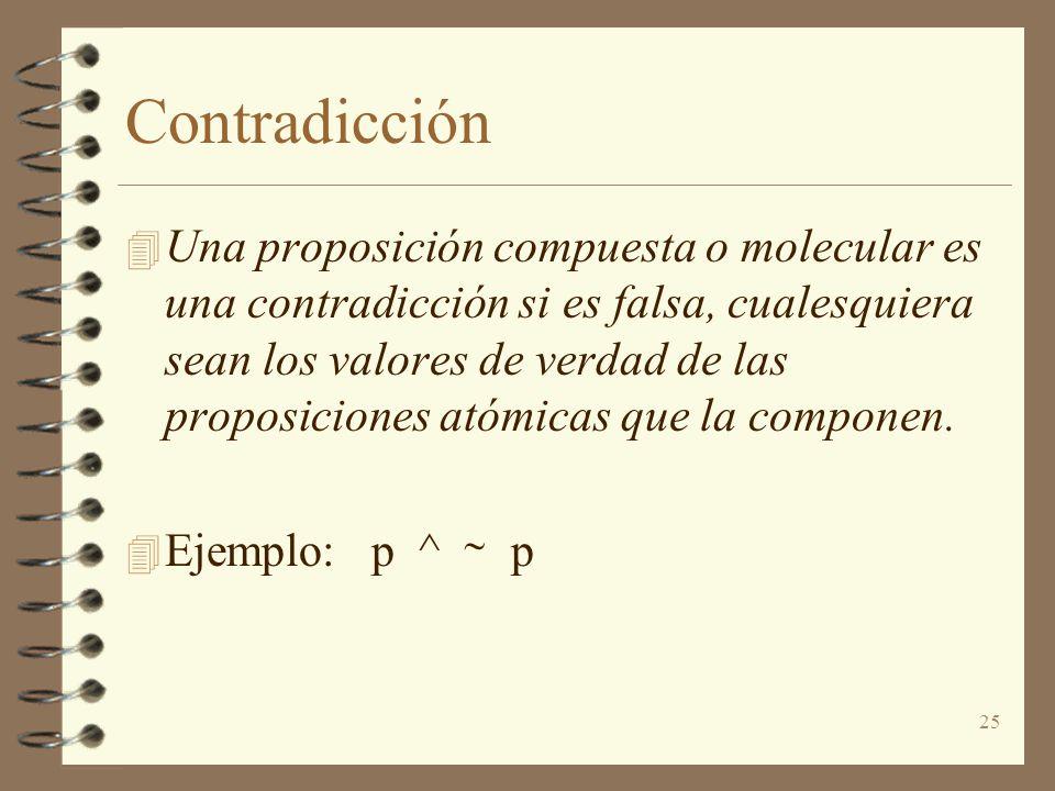 25 Contradicción 4 Una proposición compuesta o molecular es una contradicción si es falsa, cualesquiera sean los valores de verdad de las proposiciones atómicas que la componen.