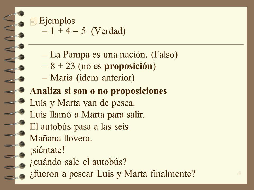 3 4 Ejemplos –1 + 4 = 5 (Verdad) –La Pampa es una nación. (Falso) –8 + 23 (no es proposición) –María (ídem anterior) Analiza si son o no proposiciones
