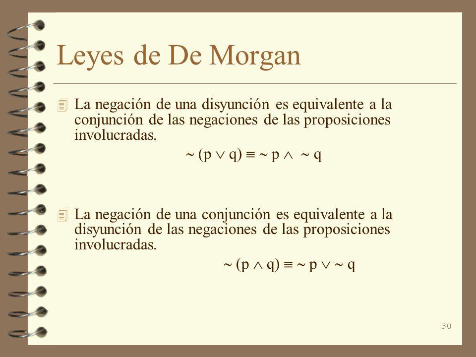 30 Leyes de De Morgan 4 La negación de una disyunción es equivalente a la conjunción de las negaciones de las proposiciones involucradas. (p q) p q 4