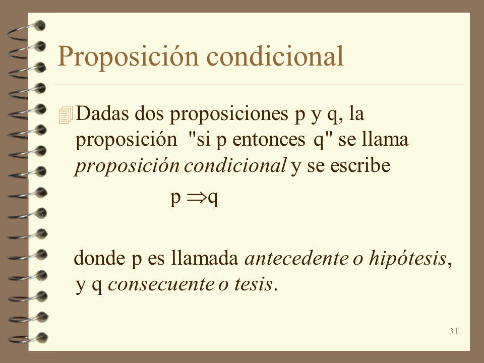 31 Proposición condicional 4 Dadas dos proposiciones p y q, la proposición si p entonces q se llama proposición condicional y se escribe p q donde p es llamada antecedente o hipótesis, y q consecuente o tesis.