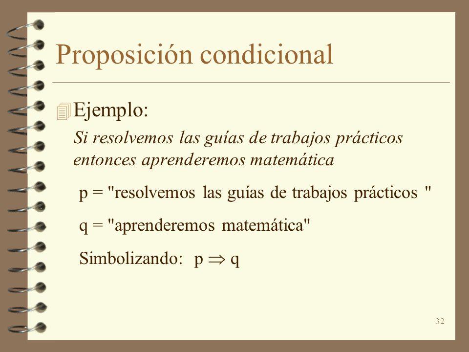 32 Proposición condicional 4 Ejemplo: Si resolvemos las guías de trabajos prácticos entonces aprenderemos matemática p =