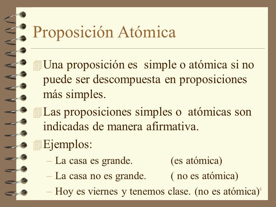 4 Proposición Atómica 4 Una proposición es simple o atómica si no puede ser descompuesta en proposiciones más simples. 4 Las proposiciones simples o a