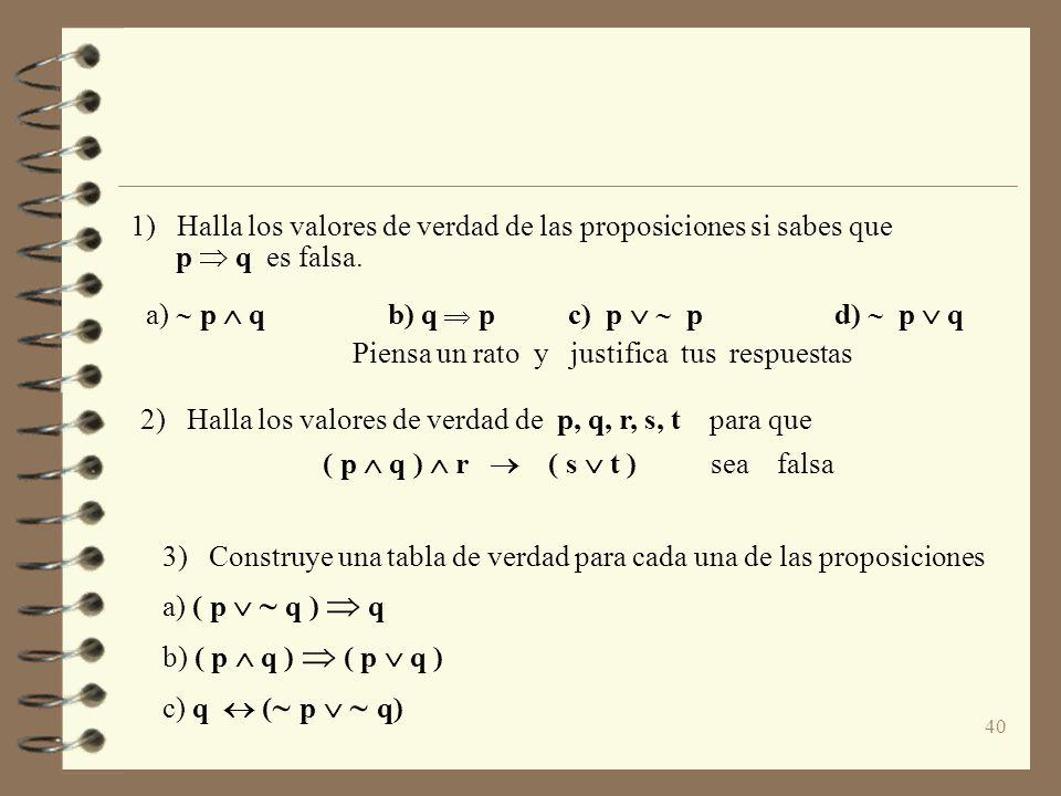 40 1) Halla los valores de verdad de las proposiciones si sabes que p q es falsa. a) p q b) q p c) p p d) p q Piensa un rato y justifica tus respuesta