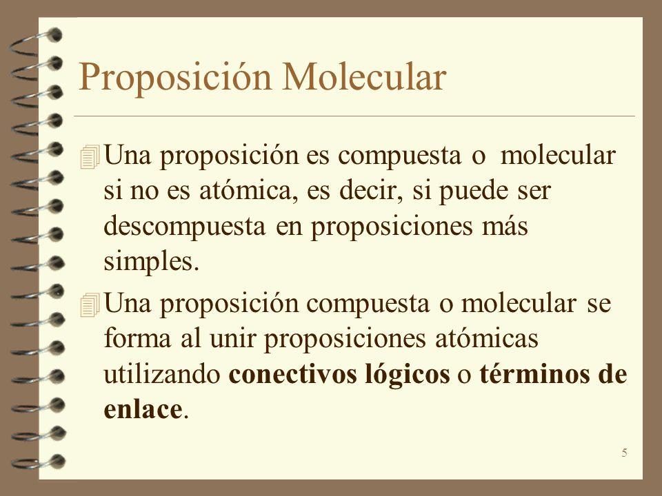 5 Proposición Molecular 4 Una proposición es compuesta o molecular si no es atómica, es decir, si puede ser descompuesta en proposiciones más simples.