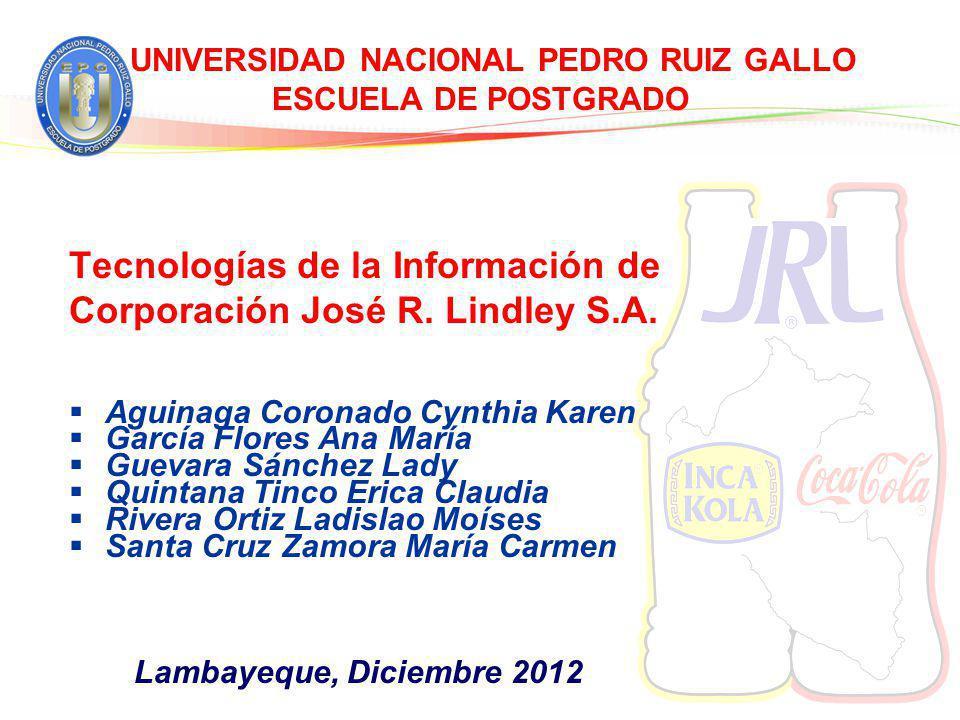 UNIVERSIDAD NACIONAL PEDRO RUIZ GALLO ESCUELA DE POSTGRADO Tecnologías de la Información de Corporación José R. Lindley S.A. Aguinaga Coronado Cynthia