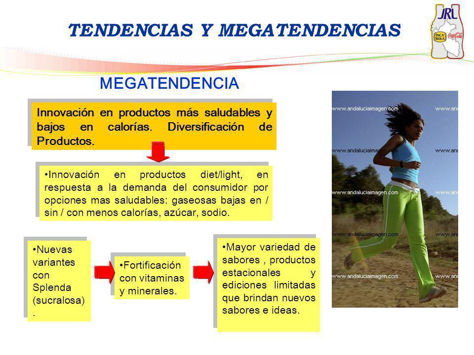 TENDENCIAS Y MEGATENDENCIAS MEGATENDENCIA Innovación en productos más saludables y bajos en calorías. Diversificación de Productos. Mayor variedad de