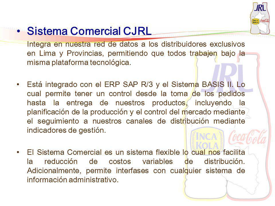 Sistema Comercial CJRL Integra en nuestra red de datos a los distribuidores exclusivos en Lima y Provincias, permitiendo que todos trabajen bajo la mi