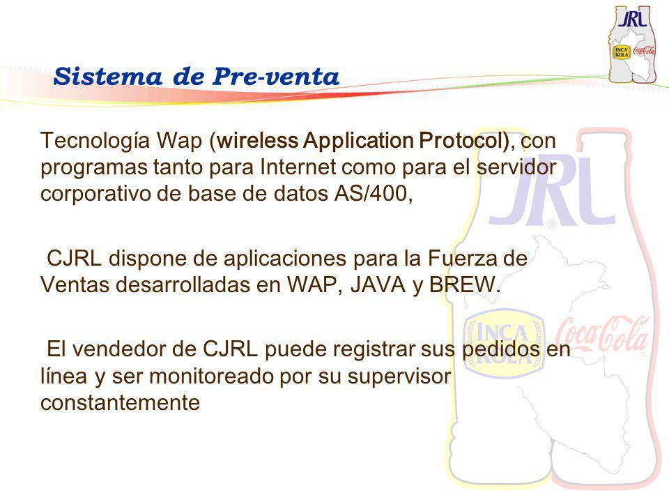 Sistema de Pre-venta Tecnología Wap (wireless Application Protocol), con programas tanto para Internet como para el servidor corporativo de base de da