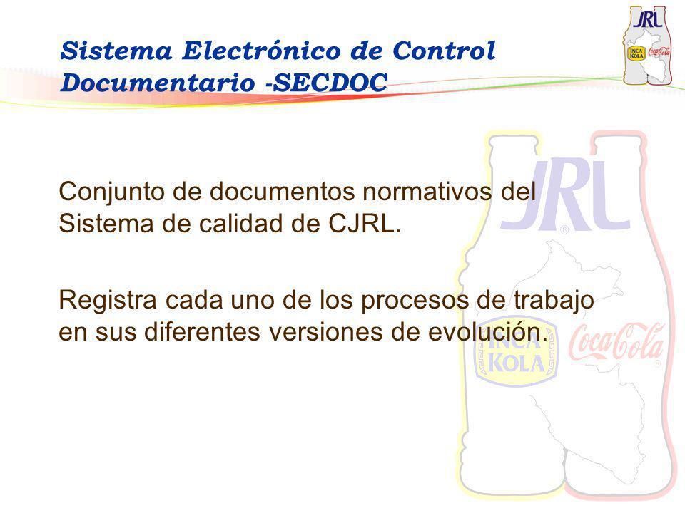 Sistema Electrónico de Control Documentario -SECDOC Conjunto de documentos normativos del Sistema de calidad de CJRL. Registra cada uno de los proceso