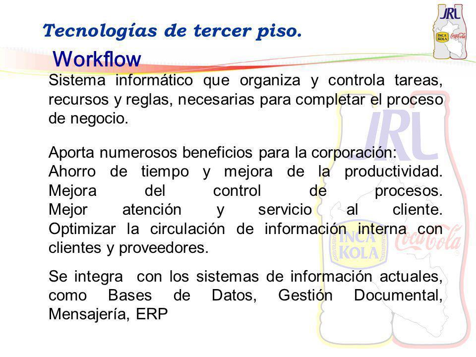 Tecnologías de tercer piso. Workflow Sistema informático que organiza y controla tareas, recursos y reglas, necesarias para completar el proceso de ne