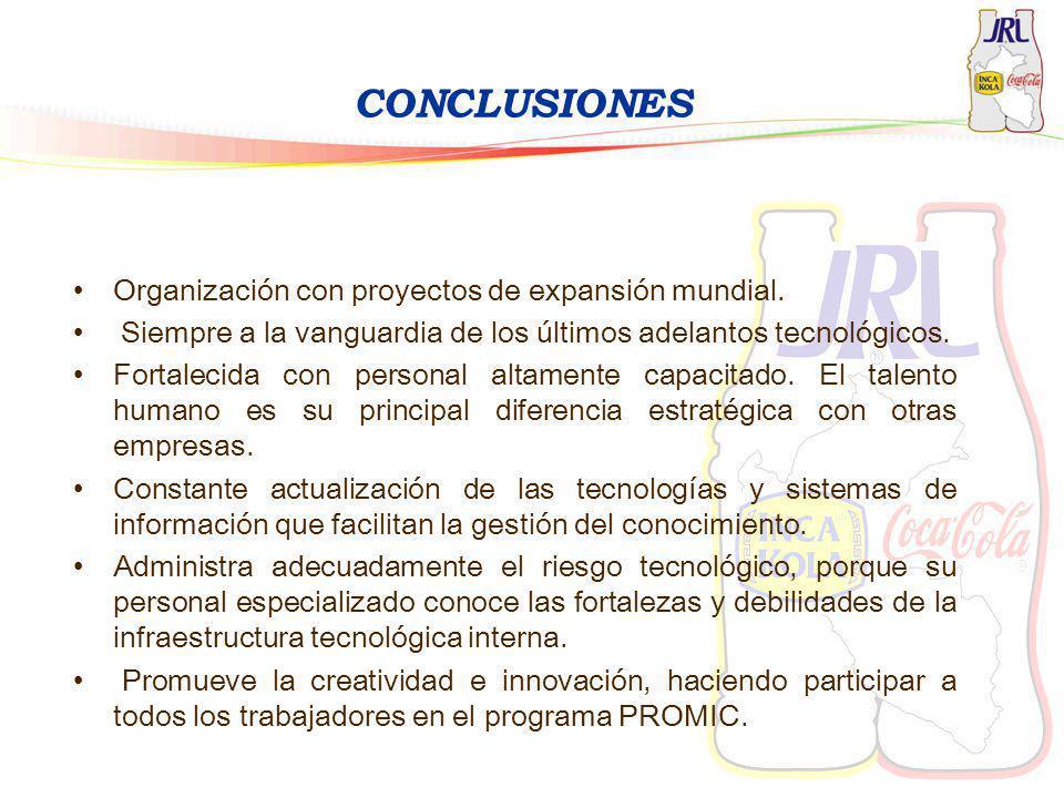 CONCLUSIONES Organización con proyectos de expansión mundial. Siempre a la vanguardia de los últimos adelantos tecnológicos. Fortalecida con personal