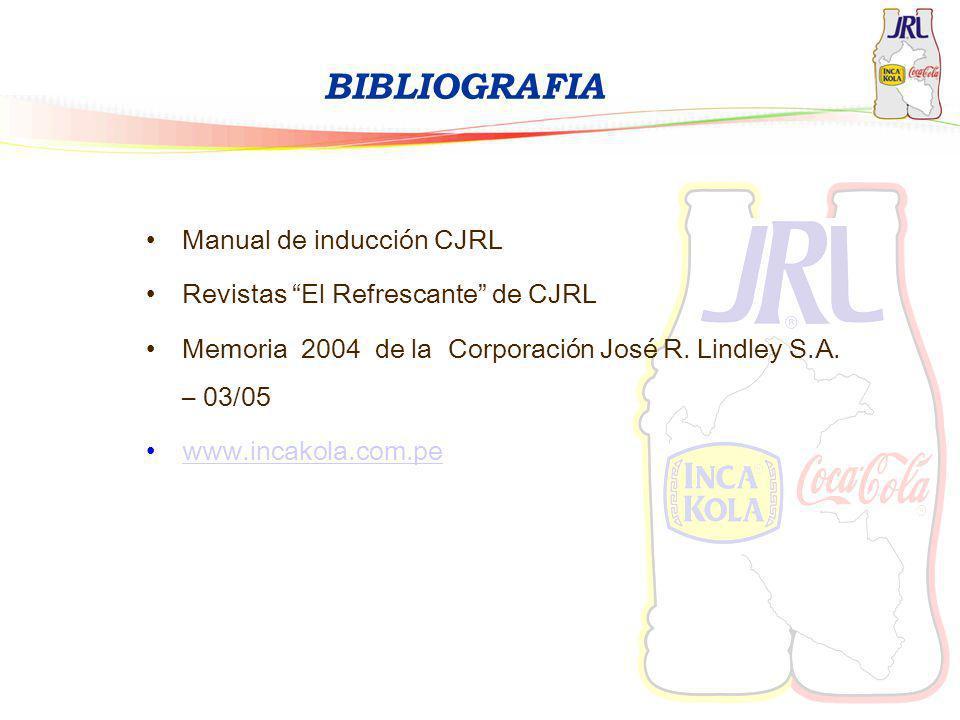 BIBLIOGRAFIA Manual de inducción CJRL Revistas El Refrescante de CJRL Memoria 2004 de la Corporación José R. Lindley S.A. – 03/05 www.incakola.com.pe