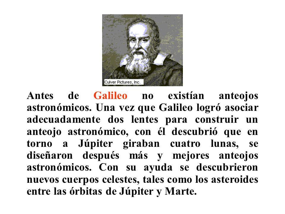 Antes de Galileo no existían anteojos astronómicos.