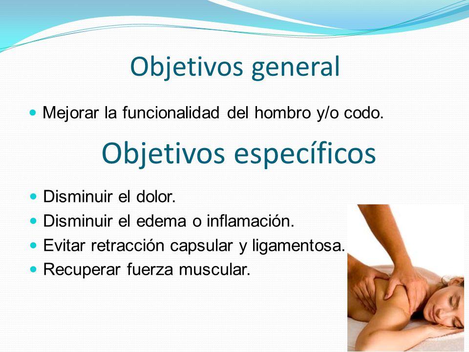 Objetivos general Mejorar la funcionalidad del hombro y/o codo. Objetivos específicos Disminuir el dolor. Disminuir el edema o inflamación. Evitar ret