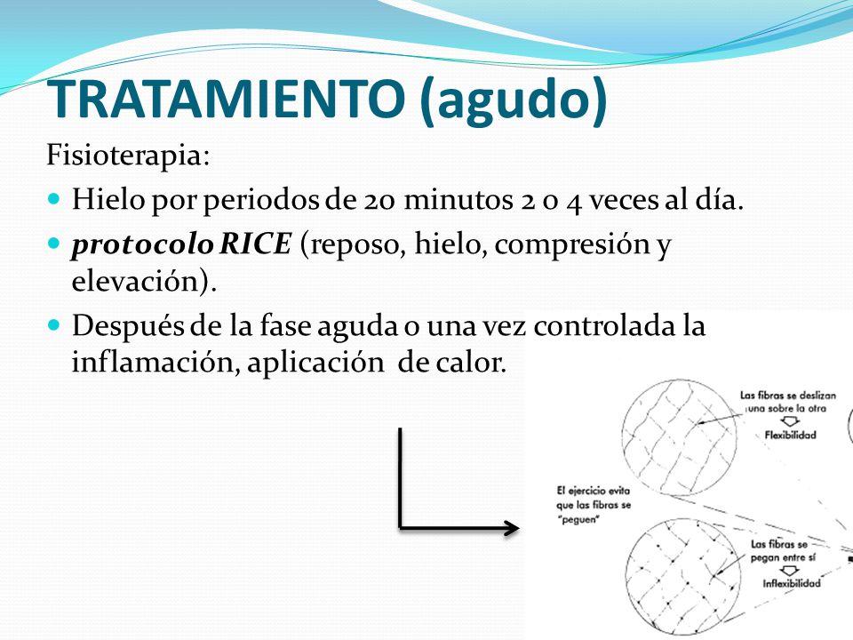 TRATAMIENTO (agudo) Fisioterapia: Hielo por periodos de 20 minutos 2 o 4 veces al día. protocolo RICE (reposo, hielo, compresión y elevación). Después