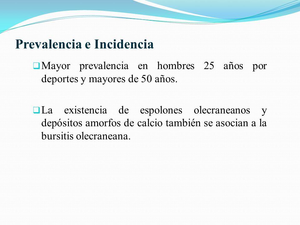 Prevalencia e Incidencia Mayor prevalencia en hombres 25 años por deportes y mayores de 50 años. La existencia de espolones olecraneanos y depósitos a
