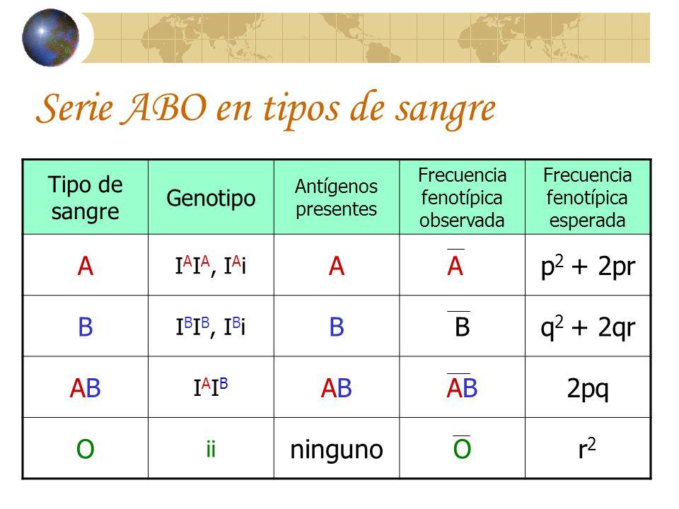 Serie ABO en tipos de sangre Tipo de sangre Genotipo Antígenos presentes Frecuencia fenotípica observada Frecuencia fenotípica esperada A I A I A, I A