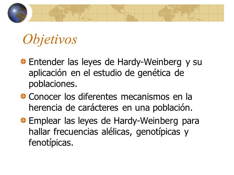 Objetivos Entender las leyes de Hardy-Weinberg y su aplicación en el estudio de genética de poblaciones. Conocer los diferentes mecanismos en la heren