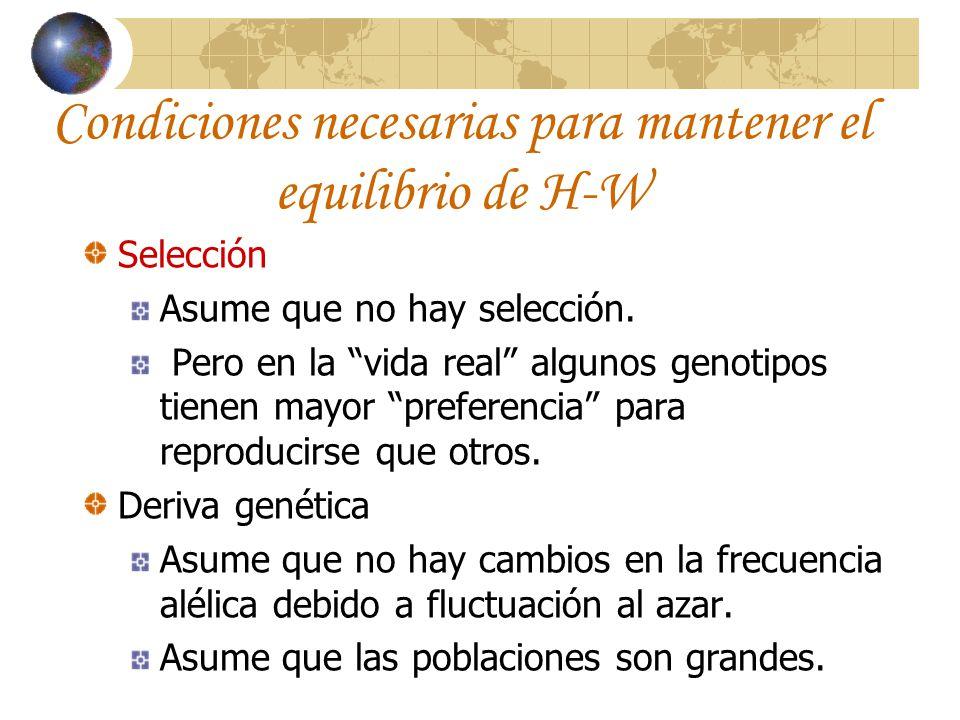 Condiciones necesarias para mantener el equilibrio de H-W Selección Asume que no hay selección. Pero en la vida real algunos genotipos tienen mayor pr