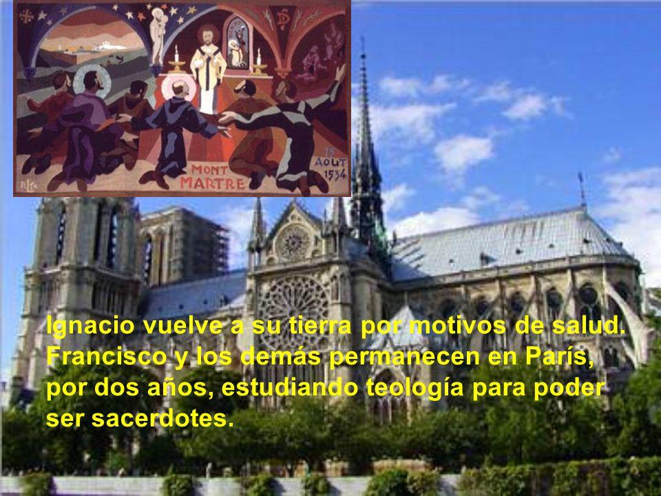 En Montmartre, París, los siete primeros jesuitas hacen sus votos de pobreza y castidad. Celebra la misa el único sacerdote y recién ordenado, Pedro F