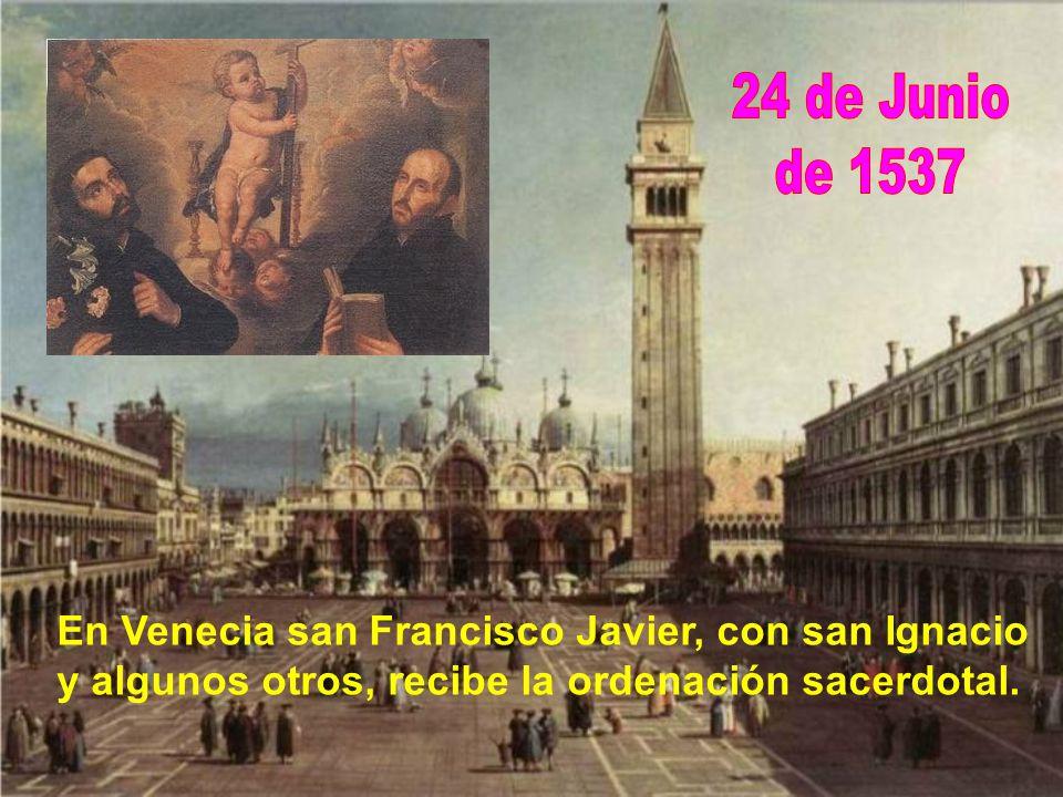 Estando en Venecia, al ver esclavos etíopes, sueña Francisco con evangelizar en África y en la India. Una noche cree que camina con un etíope a la esp