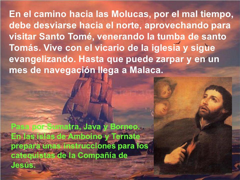 En las islas de la Pesquería designa a sus compañeros un territorio y Francisco va a Manapar; después a Travancor a evangelizar a los pescadores makua