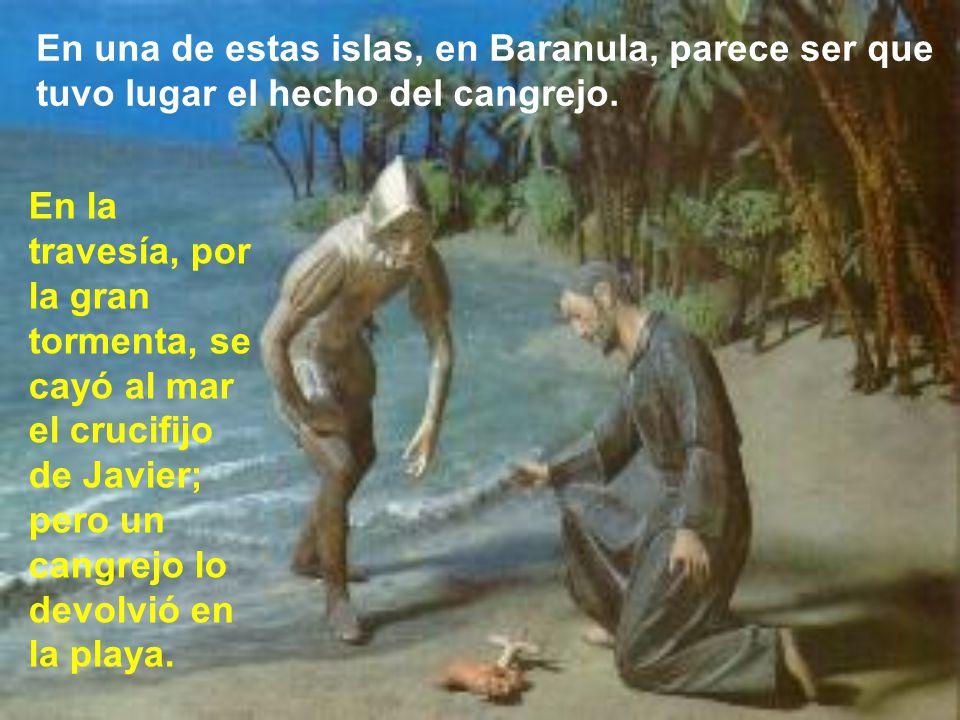 En el camino hacia las Molucas, por el mal tiempo, debe desviarse hacia el norte, aprovechando para visitar Santo Tomé, venerando la tumba de santo To
