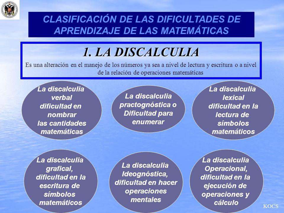 CLASIFICACIÓN DE LAS DIFICULTADES DE APRENDIZAJE DE LAS MATEMÁTICAS 1. LA DISCALCULIA Es una alteración en el manejo de los números ya sea a nivel de