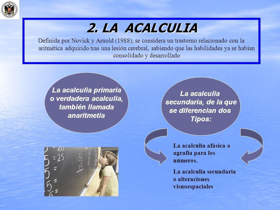 2. LA ACALCULIA Definida por Novick y Arnold (1988), se considera un trastorno relacionado con la aritmética adquirido tras una lesión cerebral, sabie