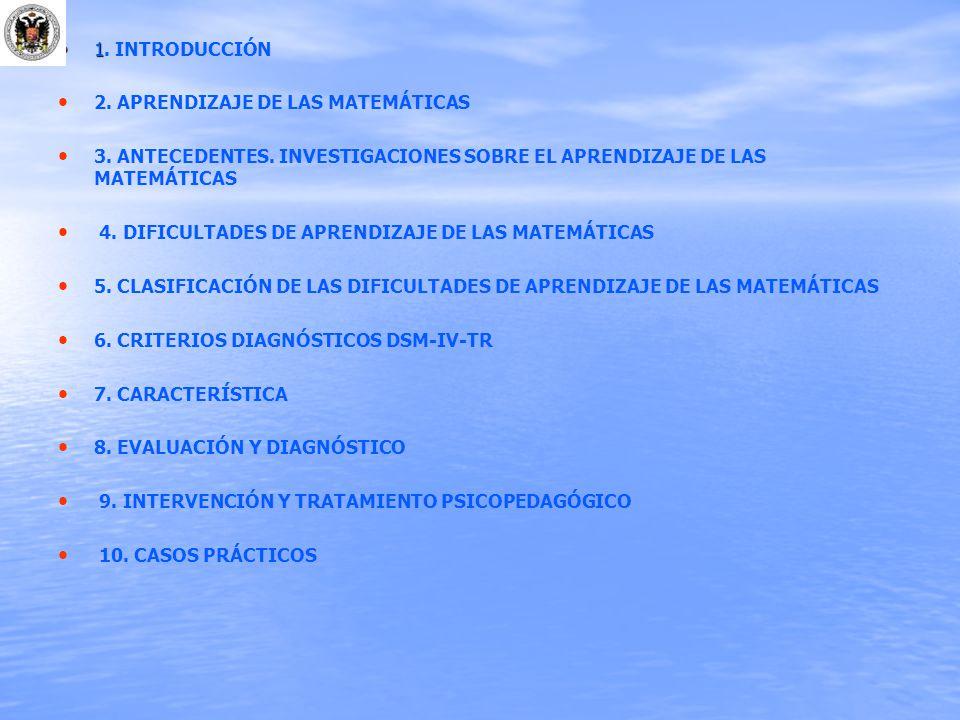 1 1. INTRODUCCIÓN 2. APRENDIZAJE DE LAS MATEMÁTICAS 3. ANTECEDENTES. INVESTIGACIONES SOBRE EL APRENDIZAJE DE LAS MATEMÁTICAS 4. DIFICULTADES DE APREND
