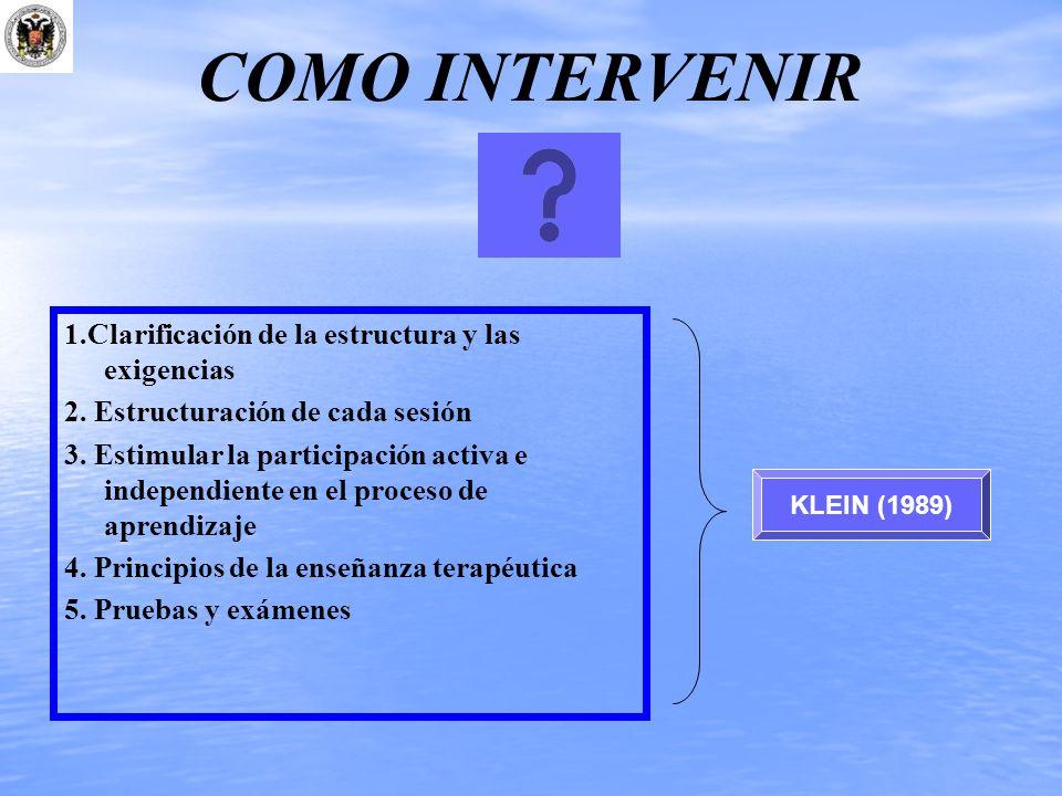 COMO INTERVENIR KLEIN (1989) 1.Clarificación de la estructura y las exigencias 2. Estructuración de cada sesión 3. Estimular la participación activa e