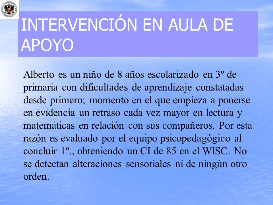 INTERVENCIÓN EN AULA DE APOYO Alberto es un niño de 8 años escolarizado en 3º de primaria con dificultades de aprendizaje constatadas desde primero; m