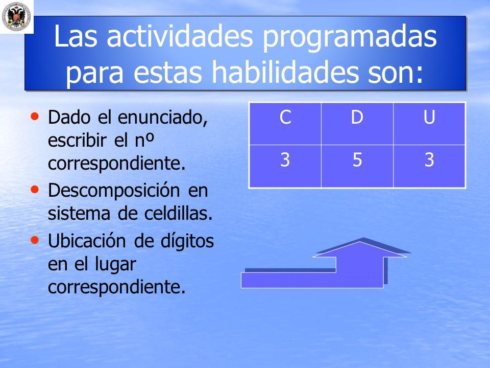 Las actividades programadas para estas habilidades son: Dado el enunciado, escribir el nº correspondiente. Descomposición en sistema de celdillas. Ubi