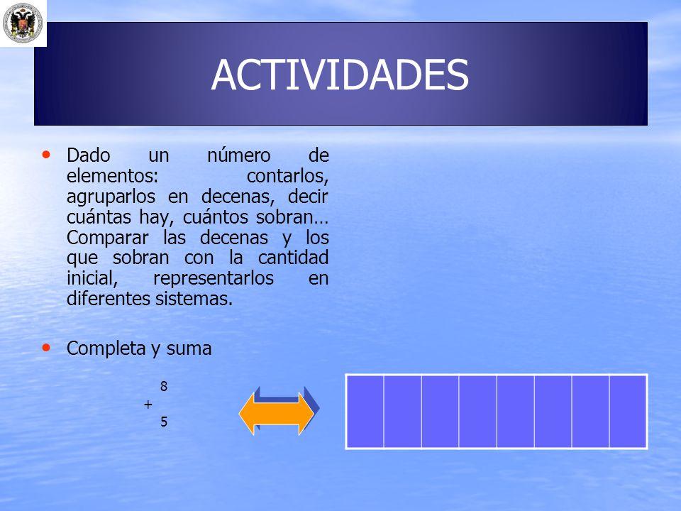 ACTIVIDADES Dado un número de elementos: contarlos, agruparlos en decenas, decir cuántas hay, cuántos sobran… Comparar las decenas y los que sobran co