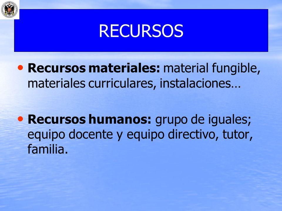 Recursos materiales: material fungible, materiales curriculares, instalaciones… Recursos humanos: grupo de iguales; equipo docente y equipo directivo,