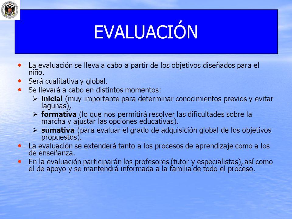La evaluación se lleva a cabo a partir de los objetivos diseñados para el niño. Será cualitativa y global. Se llevará a cabo en distintos momentos: in