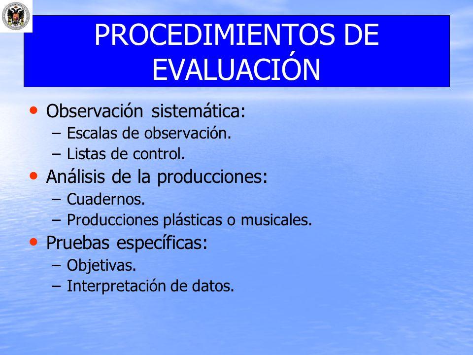 Observación sistemática: – –Escalas de observación. – –Listas de control. Análisis de la producciones: – –Cuadernos. – –Producciones plásticas o music