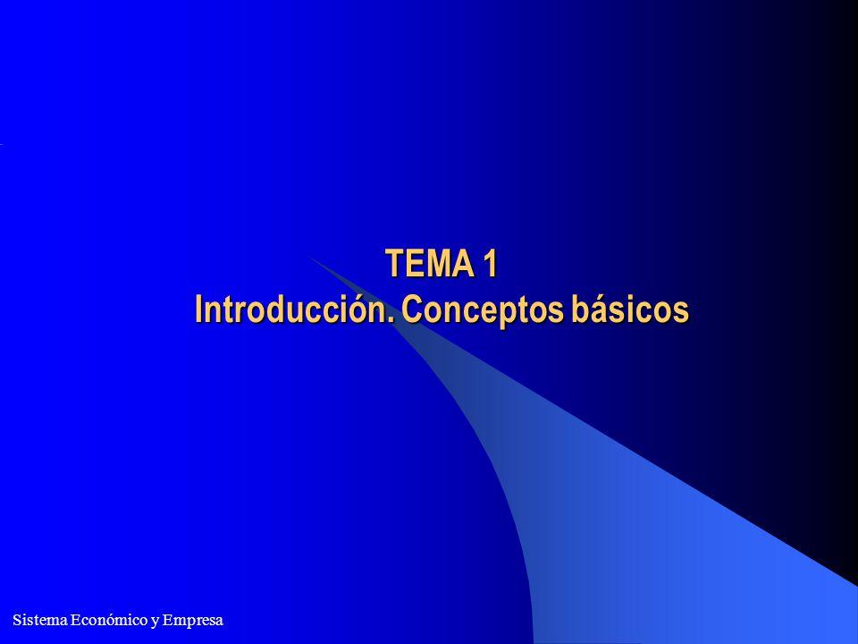 Sistema Económico y Empresa TEMA 1 Introducción. Conceptos básicos